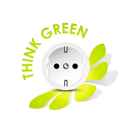 electricity providers: Energy icon outlet - electricity eco concept against white background
