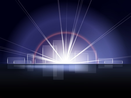 Blue background abstract city skyline with sun burst Vector