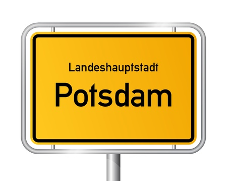 main entrance: City limit sign POTSDAM against white background - capital of the federal state Brandenburg, Germany