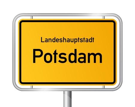 ortseingangsschild: Ortseingangsschild POTSDAM vor weißem Hintergrund - Hauptstadt des Bundeslandes Brandenburg, Deutschland