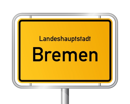 main entrance: City limit sign BREMEN against white background