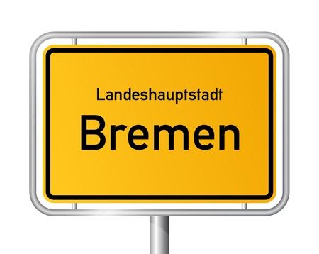Ortseingangsschild BREMEN gegen weißen Hintergrund Standard-Bild - 13705997
