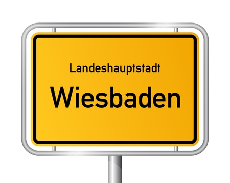 main entrance: City limit sign WIESBADEN against white background - capital of the federal state Hesse - Hessen, Germany