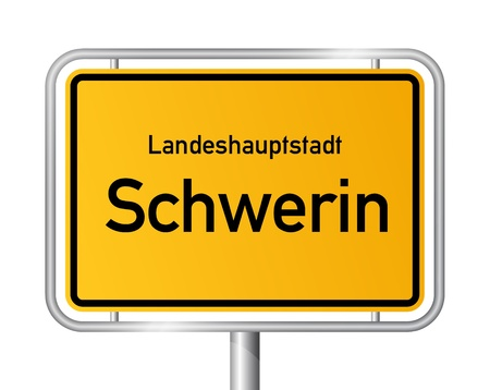 ortsschild: City limit sign SCHWERIN against white background - capital of the federal state Western Pomerania - Mecklenburg Vorpommern, Germany