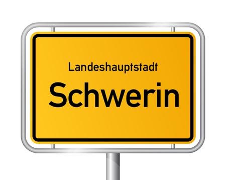 ortseingangsschild: Ortseingangsschild SCHWERIN vor weißem Hintergrund - Hauptstadt des Bundeslandes Vorpommern - Mecklenburg Vorpommern, Deutschland