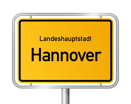 main entrance: City limit sign HANNOVER against white background - capital of the federal state Lower Saxony - Niedersachsen, Germany
