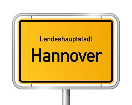 ortseingangsschild: Ortseingangsschild HANNOVER gegen weißen Hintergrund - Hauptstadt des Bundeslandes Niedersachsen - Niedersachsen, Deutschland