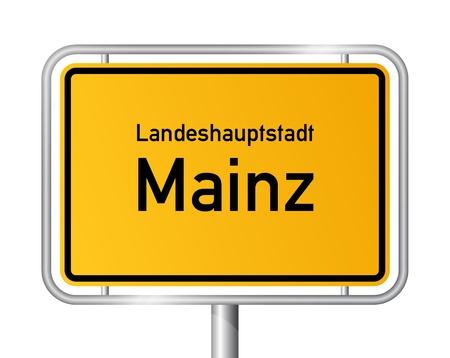 city limit: City limit sign MAINZ against white background - capital of the federal state Rhineland Palatinate - Rheinland Pfalz, Germany