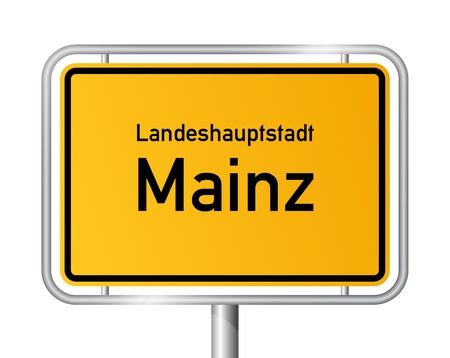 ortseingangsschild: Ortseingangsschild MAINZ vor weißem Hintergrund - Hauptstadt des Bundeslandes Rheinland-Pfalz - Rheinland Pfalz, Deutschland