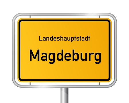 ortsschild: City limit sign MAGDEBURG against white background - capital of the federal state Saxony Anhalt - Sachsen Anhalt, Germany
