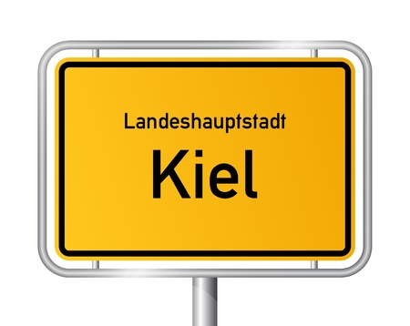 main entrance: City limit sign KIEL against white background - capital of the federal state Schleswig Holstein, Germany