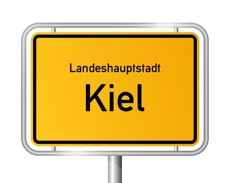 ortseingangsschild: Ortseingangsschild KIEL vor weißem Hintergrund - Hauptstadt des Bundeslandes Schleswig Holstein, Deutschland