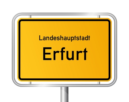 main entrance: City limit sign ERFURT against white background - capital of the federal state Thuringia - Thuringen, Germany