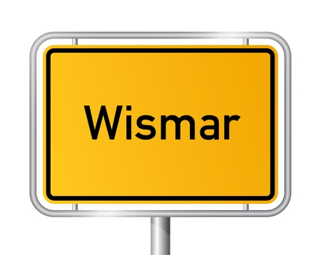 ortsschild: City limit sign WISMAR against white background - Western Pomerania, Mecklenburg Vorpommern, Germany Illustration