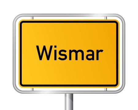 ortseingangsschild: Ortseingangsschild WISMAR vor weißem Hintergrund - Vorpommern, Mecklenburg Vorpommern, Deutschland