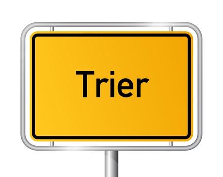 ortseingangsschild: Ortseingangsschild TRIER vor weißem Hintergrund - Rheinland-Pfalz, Rheinland Pfalz, Deutschland Illustration