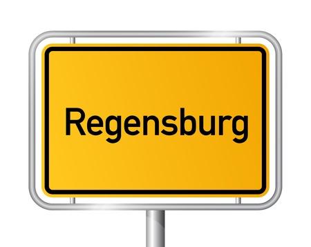 ortseingangsschild: Ortseingangsschild REGENSBURG vor wei�em Hintergrund - Bayern, Bayern, Deutschland Illustration