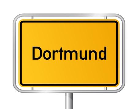 ortseingangsschild: Ortseingangsschild vor weißem Hintergrund DORTMUND - Nordrhein-Westfalen, Nordrhein Westfalen, Deutschland Illustration