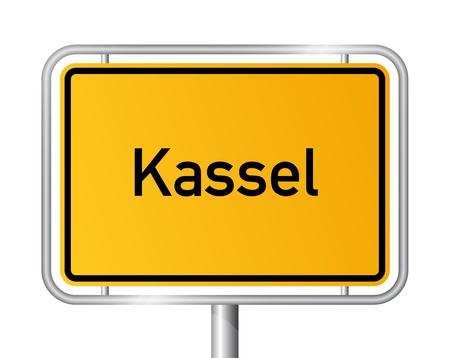 ortseingangsschild: Ortseingangsschild KASSEL vor weißem Hintergrund - Hessen, Hessen, Deutschland