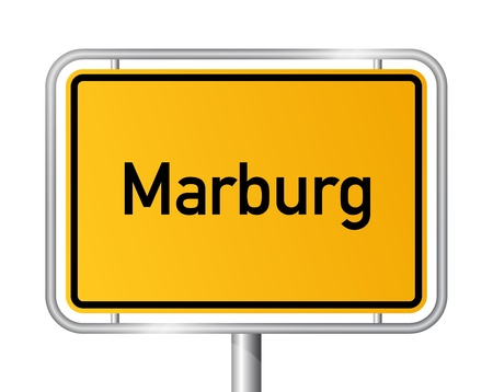 ortsschild: City limit sign MARBURG against white background - Hesse, Hessen, Germany Illustration