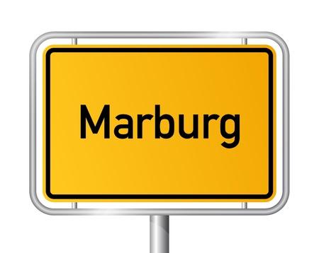 ortseingangsschild: Ortseingangsschild MARBURG vor weißem Hintergrund - Hessen, Hessen, Deutschland Illustration