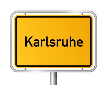 ortseingangsschild: Ortseingangsschild KARLSRUHE vor weißem Hintergrund - Baden-Württemberg, Baden Wrttemberg, Deutschland