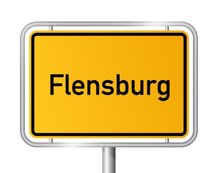 ortsschild: City limit sign FLENSBURG against white background - Schleswig Holstein, Germany