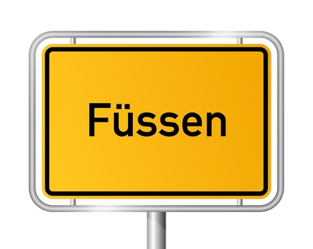 ortsschild: City limit sign F�SSEN against white background - Bavaria, Bayern, Germany