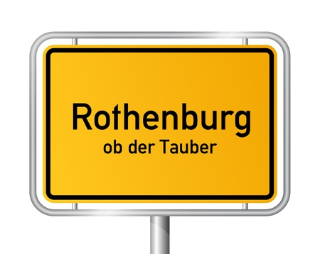 ortsschild: City limit sign ROTHENBURG OB DER TAUBER against white background - Bavaria, Bayern, Germany