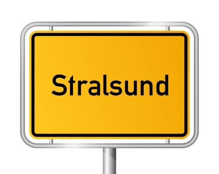 ortsschild: City limit sign STRALSUND against white background - Western Pomerania, Mecklenburg Vorpommern, Germany
