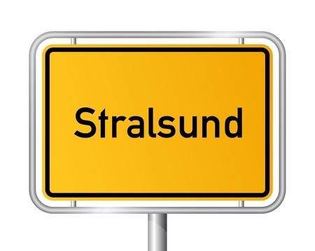 ortseingangsschild: Ortseingangsschild vor weißem Hintergrund STRALSUND - Vorpommern, Mecklenburg Vorpommern, Deutschland