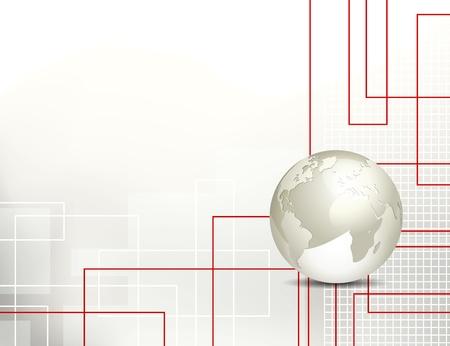 grid: Tecnologia sfondo astratto con globo Vettoriali