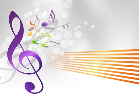 Music background - notes and treble clef Vector