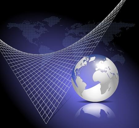 Blue technology background - world map and globe