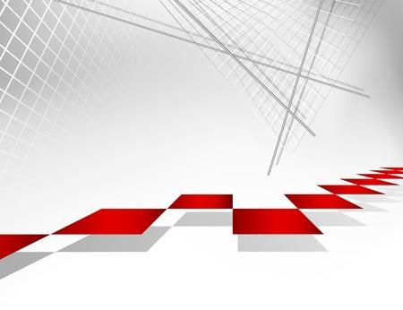 folleto: Resumen de fondo gris de la arquitectura con los pasos rojos