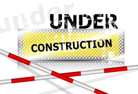 Under construction page background sign with barrier Vector