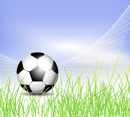 footie: Soccer ball background with net, grass and blue sky Illustration