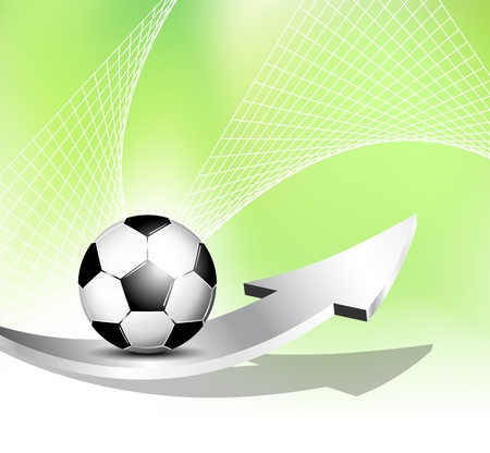 footy: Soccer ball background with net and arrow
