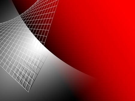 on metal: Fondo rojo abstracto con plata met�lica gris Vectores