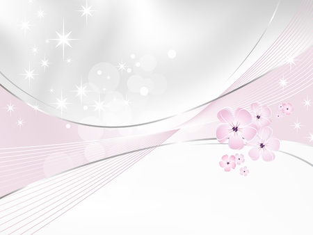 gray cards: Flower background - white and pink floral design Illustration