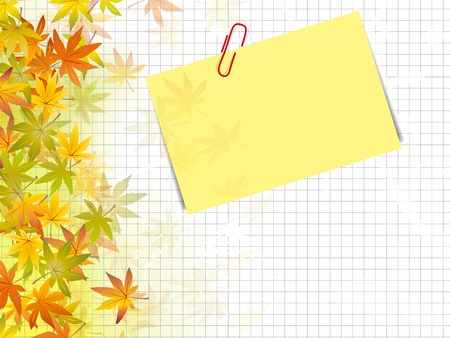 Autumn background design - fall leaves against squared paper texture with post it label Çizim