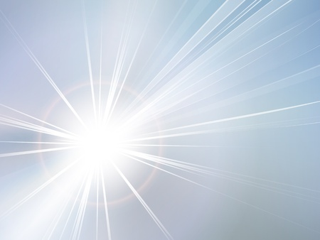 sunburst: Blue sky and sun abstract background Illustration