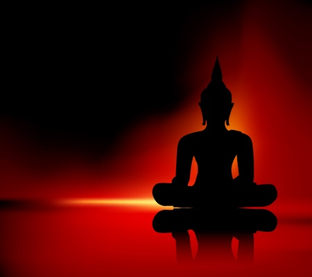 buddha tranquil: Black buddha silhouette against red background Illustration