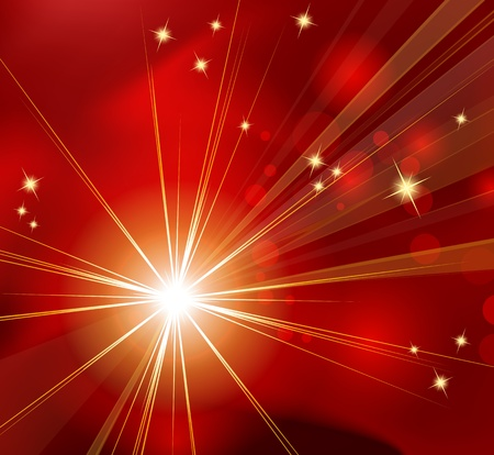 Red abstract background - sunburst, starburst - festive Christmas template