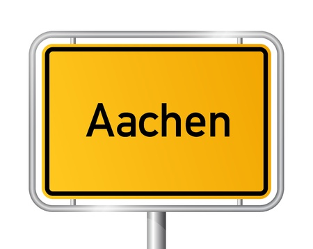 ortsschild: City limit sign Aachen against white background - signage - North Rhine Westphalia, Nordrhein Westfalen, Germany