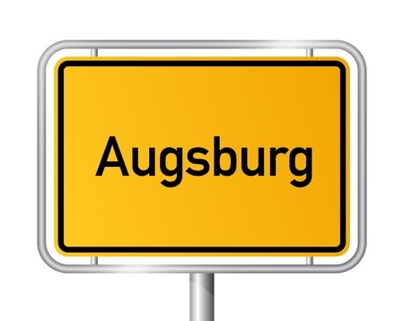 City limit sign Augsburg against white background - signage - Bavaria, Bayern, Germany Stock Vector - 17897978