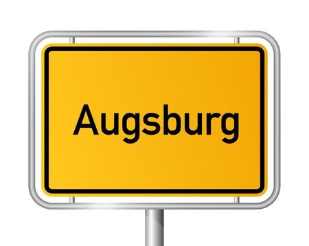 ortseingangsschild: Ortseingangsschild Augsburg gegen weißen Hintergrund - Beschilderung - Bayern, Bayern, Deutschland