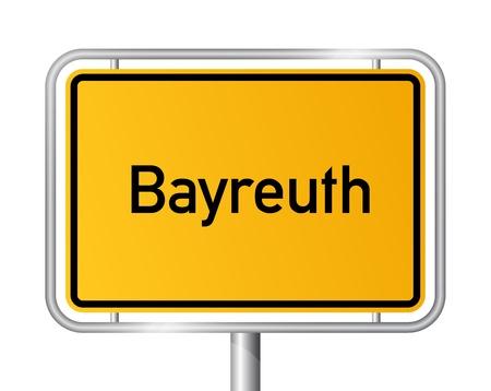 ortseingangsschild: Ortsschild Bayreuth gegen weißen Hintergrund - Beschilderung - Bayern, Bayern, Deutschland Illustration