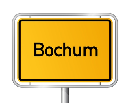 entrance sign: City limit sign Bochum against white background - signage - North Rhine Westphalia, Nordrhein Westfalen, Germany