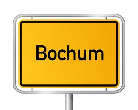 ortseingangsschild: Ortseingangsschild Bochum gegen weißen Hintergrund - Beschilderung - Nordrhein-Westfalen, Nordrhein Westfalen, Deutschland